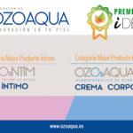 La crema corporal y el gel íntimo de Ozoaqua, ganadores de bronce en los Premios iDermo 2019
